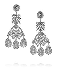 Kenneth Jay Lane | Metallic Girondelle Crystal Chandelier Clip Earrings | Lyst