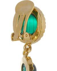 Kenneth Jay Lane | Metallic 22karat Goldplated Swarovski Crystal Clip Earrings | Lyst