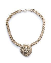 Mango - Metallic Lion Pendant Necklace - Lyst