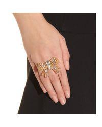 Miu Miu - Metallic Crystal Bead Embellished Bow Ring - Lyst
