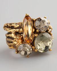 Oscar de la Renta - Metallic Multicolor Crystal Branch Ring - Lyst