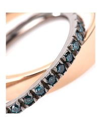 Roberto Marroni - Metallic 18kt Polished Rose Gold And Blue Diamond Ring - Lyst