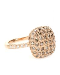 Roberto Marroni | Metallic 18kt Rose Gold Ring With Brown And White Diamonds | Lyst