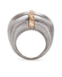 Roberto Marroni | Metallic Oxidized Sterling Silver Ring With Brown Diamonds Set On 18kt Rose Gold | Lyst
