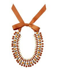 Weekend by Maxmara | Orange Statement Necklace with Ribbon Tie | Lyst