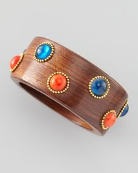 Chamak by Priya Kakkar | Brown Bead and Wood Bangle Redblue | Lyst