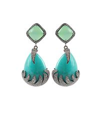 Colette | Blue Amazonite and Chalcedony Drop Earrings | Lyst