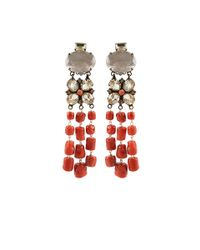 Iradj Moini - Red Flower and Coral Drop Earrings - Lyst
