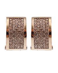 Michael Kors - Metallic Rose Gold Tone And Crystal Huggie Hoop Earrings - Lyst