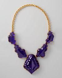 Oscar de la Renta Purple Resin Chandelier Necklace