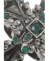 Roberto Cavalli - Green Palladiumplated Swarovski Crystal and Hematite Cross Ring - Lyst