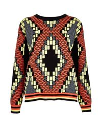 TOPSHOP - Multicolor Knitted Tribal Jacquard Sweat - Lyst