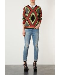 TOPSHOP | Multicolor Knitted Tribal Jacquard Sweat | Lyst