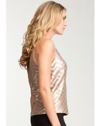 Bebe - Metallic Faux Leather Sequin Tank - Lyst