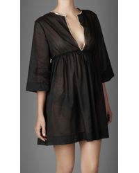 Burberry | Black Check Trim Cotton Kaftan | Lyst