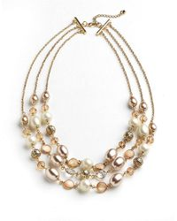 Carolee - Brown Three Strand Faux Pearl Necklace - Lyst