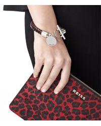 Reiss - Metallic Frith Leather Weave Bracelet - Lyst