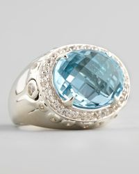 John Hardy | Metallic Batu Bamboo Small Blue Topaz Oval Ring | Lyst