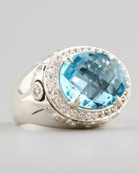 John Hardy - Metallic Lava Small Blue Topaz Round Ring - Lyst