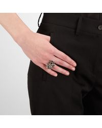 Bottega Veneta - Black Nero Enameled Antique Silver Ring - Lyst