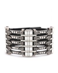 Lanvin | Black Crystal Embellished Leather Bracelet | Lyst