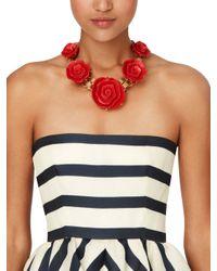 Oscar de la Renta | Red Resin Flower Necklace | Lyst