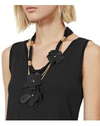 Reiss - Black Lila Leather Flower Necklace - Lyst