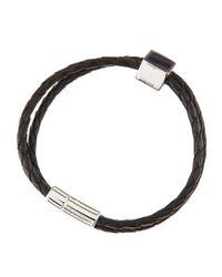Tateossian - Black Woven Squarebead Leather Bracelet for Men - Lyst