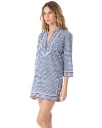 Tory Burch - Blue Brigitte Printed Cotton-voile Shirt Dress - Lyst