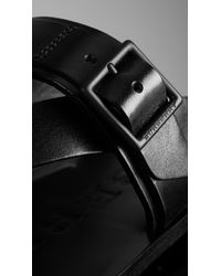 Burberry - Black Leather Buckle Detail Sandals for Men - Lyst