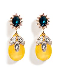 Mawi - Yellow Rose Goldplated Daisy Earrings with Crystal Embellished Drops - Lyst