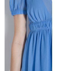 Vanessa Bruno | Blue Crinkle Chiffon V-neck Dress | Lyst