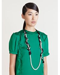 Lanvin | Black Pearl and Ribbon Necklace | Lyst