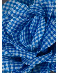 Lanvin - Blue Gingham Floral Brooch - Lyst