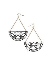 TOPSHOP - Metallic Aztec Cut Out Earrings - Lyst