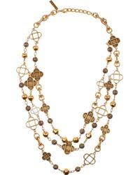 Oscar de la Renta   Metallic Tiered Goldplated Necklace   Lyst