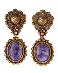 Stephen Dweck - Metallic Charoite Drop Clip Earrings - Lyst