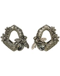 Alexander McQueen | Gray Hexagon Bee Skull Earrings | Lyst