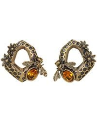 Alexander McQueen - Brown Hexagon Bee Skull Earrings - Lyst