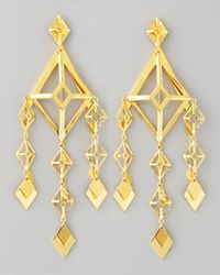 Eddie Borgo | Metallic Gold Large Lattice Chandelier Earrings | Lyst