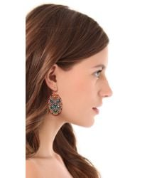 Miguel Ases - Multicolor Beaded Oval Earrings - Lyst