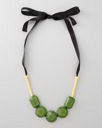 Marni | Green Resin Bead Ribbon Necklace | Lyst
