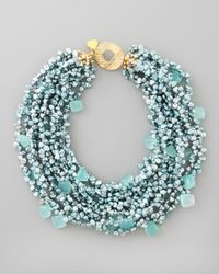 Devon Leigh | Metallic Pearl Chalcedony Necklace | Lyst