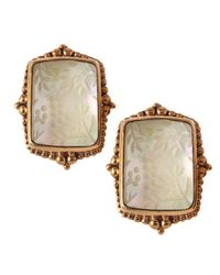 Stephen Dweck | Brown Crystalmother Of Pearl Button Clip Earrings | Lyst