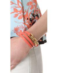 Tory Burch - Orange Chain Leather Triple Wrap Bracelet - Lyst
