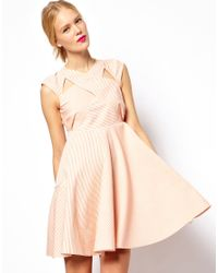 Mademoiselle Tara - Pink Wrap Over Dress in Candy Stripe - Lyst