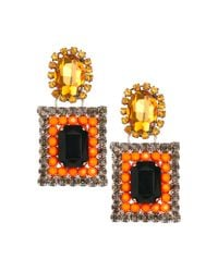 ASOS | Orange Square Drop Earrings | Lyst