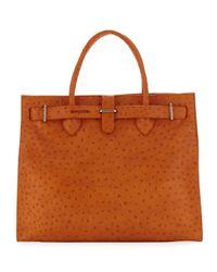 Furla - Orange Greta Large Ostrichembossed Shopper Bag - Lyst