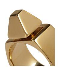 Saint Laurent - Metallic Clous De Paris Gold-Plated Ring - Lyst