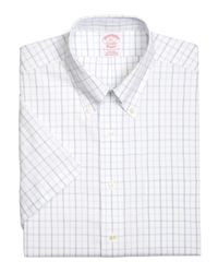 Brooks Brothers | White Supima® Cotton Non-iron Traditional Fit Dotted Tattersall Short-sleeve Pinpoint Dress Shirt for Men | Lyst